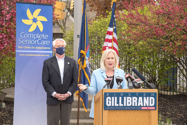 """210503 Gillibrand Drugs 1<br /> James Neiss/staff photographer <br /> Niagara, NY - US Senator Kirsten Gillibrand visited Niagara Falls to call for sweeping legislation to lower prescription drug prices. Joining her at the podium is Mayor Robert Restaino. <br /> <br /> From: """"Gillibrand, Press (Gillibrand)"""" <br /> Subject: MONDAY: IN NIAGARA FALLS, GILLIBRAND TO CALL FOR SWEEPING LEGISLATION TO LOWER PRESCRIPTION DRUG PRICES<br /> Date: April 30, 2021 at 3:14:20 PM EDT<br /> To: """"Gillibrand, Press (Gillibrand)"""" <br /> <br /> /var/folders/_k/2vy99bkn3ss430kmkxpph3fh0000gp/T/com.microsoft.Outlook/WebArchiveCopyPasteTempFiles/cidimage001.png@01D5E8D0.A58A6610<br />  <br /> MEDIA ADVISORY<br /> Friday, April 30th, 2021<br /> Contact: Miriam Cash, 202-224-3873<br />  <br /> MONDAY: IN NIAGARA FALLS, GILLIBRAND TO CALL FOR SWEEPING LEGISLATION TO LOWER PRESCRIPTION DRUG PRICES<br />    <br /> NIAGARA FALLS, NY — MONDAY, May 3rd, at 10:10 AM: U.S. Senator Kirsten Gillibrand will stand at the Health Association of Niagara County Inc. (HANCI) to call for a package of three bills to help reduce the cost of prescription drugs, and help ensure that everyone can access the medicine they need. Senator Gillibrand will be joined by President of HANCI John Kinner and Niagara Falls Mayor Robert Restaino.<br />  <br /> Drug manufacturers continue to increase the price of their drugs while one in four Americans are unable to afford their medications. Additionally, 30% of adults say they have not taken their medicine as prescribed in the past 12 months due to the costs. The package of bills includes three pieces of legislation to level the market for Americans purchasing prescription drugs; negotiate lower prices for prescription drugs under Medicare Part D; and allow patients, pharmacists and wholesalers to import safe, affordable medicine from Canada and other major countries. Senator Gillibrand's call comes as Senate and House Democrats ramp up pressure to pass legislation to make he"""