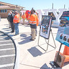 "210426 Thruway Safety 2 <br /> James Neiss/staff photographer <br /> Grand Island, NY - New York State Thruway Authority representatives, workers and NYS Police joined in the local kick off of ""Operation Hardhat,"" at the Grand Island Visitors Center, all part of National Work Zone Awareness Week."
