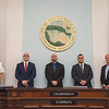 210426 New NF Police<br /> James Neiss/staff photographer <br /> Niagara Falls, NY - Three new Niagara Falls Police Officers were sworn in at city hall on Monday, from left are, Police Superintendent John Faso, new police officers Anthony Franjoine, Kevin Gruarin, Adriano Medici and Mayor Robert Restaino.