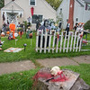 211014 Halloween Enterprise<br /> James Neiss/staff photographer <br /> Niagara Falls, NY - Scary Business - Jessica Maglio of 60th Street is the evil mastermind of this yard of terror in front of her house. Maglio said she had a little help setting up, but it's all her creation.