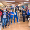 210122 NFMMC Fans 1<br /> (James Neiss/staff photographer)<br /> Niagara Falls, NY - Niagara Falls Memorial Medical Buffalo Bills fans drum up some enthusiasm for the Bills/Chiefs clash this weekend with a pizza party and wearing their favorite colors on Friday dress down day.