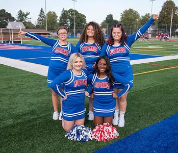 210917 Medina Cheerleaders James Neiss/staff photographer  Medina, NY - From left, Front: Lisa Shafer and Valencia Bloom. Back: Mia Kujawa, Valeria Canales and Adrianna Brege.