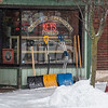210126 Winter Storm 2<br /> (James Neiss/staff photographer)<br /> Lockport, NY - It seems that Grimbles Hardware on Main Street in Lockport already knows what you're going to need as a snowstorm blows through the area.