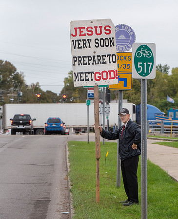 """211006 Witness Enterprise<br /> James Neiss/staff photographer <br /> Lockport, NY - Frank VanApeldoorn of Batavia said, """"All you need is faith in him, Jesus did the work for you."""" Frank said he heads out every Wednesday and Saturday to spread the word. (Guy was down to earth, really friendly and very sincere in his faith, it seemed to me. I'm not overly religious and thought, good for him.)"""