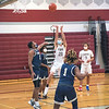 210220 Starpoint Bball 1<br /> (James Neiss/staff photographer)<br /> Pendleton, NY - Starpoint boys basketball player #23 Sam Lee puts the ball up during game action against Sweet Home.