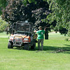 210721 Porter Cup Flood 3<br /> James Neiss/staff photographer <br /> Lewiston, NY - Niagara Falls Country Club grounds keeper deals with storm damage at the 18 hole course. The start of the Porter Cup was delayed a day because of flooding and damage cleanup from Tuesday's storm.