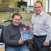 210427 Pfeiffer 1 <br /> James Neiss/staff photographer <br /> Niagara Falls, NY - Niagara Gazette Publisher John Celestino announced that reporter Rick Pfeiffer has been named Reporter of the Year in The Best of CNHI 2020 contest.
