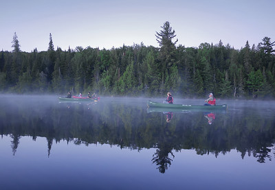 Photographers enter the Sunday sunrise lake mist. (c) 2021 Jim Chung