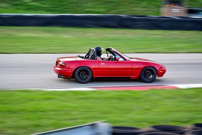 2021 SCCA Pitt Race TNIA Aug Novice Red Miata Roll Bar