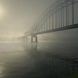 DA123,DT,Julien Dubuque Bridge in summer fog IA