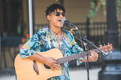 Sheeza plays at the Lafayette Farmer's Market on July 24, 2021.