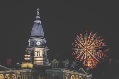 Fireworks over the Tippecanoe County Courthouse in Lafayette, Indiana on July 4, 2021