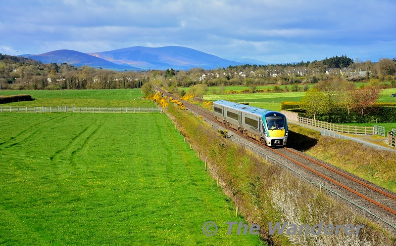 22010 is pictured at Boolymore, Rathcoole between Millstreet and Banteer with the 0905 Tralee - Mallow. Mon 12.04.21
