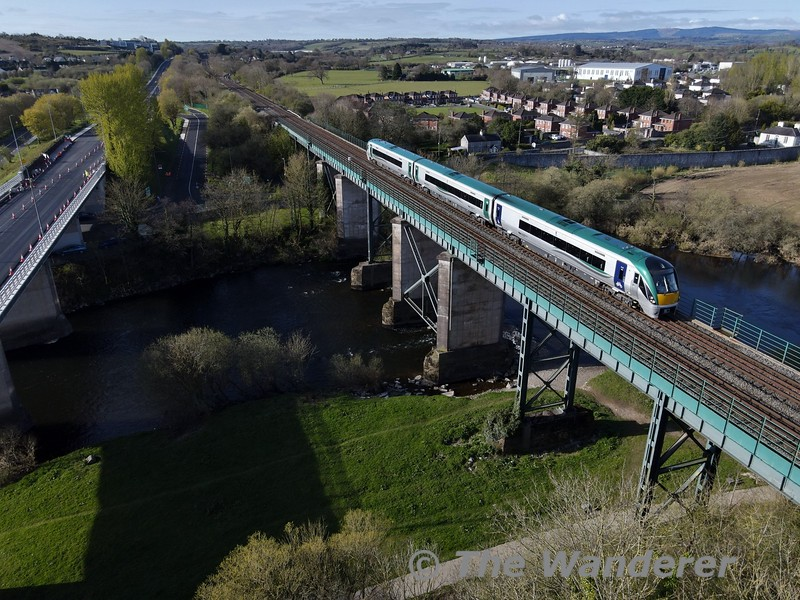 22004 crosses Mallow Viaduct on the approach to Mallow with the 0900 Cork - Tralee. Mon 12.04.21