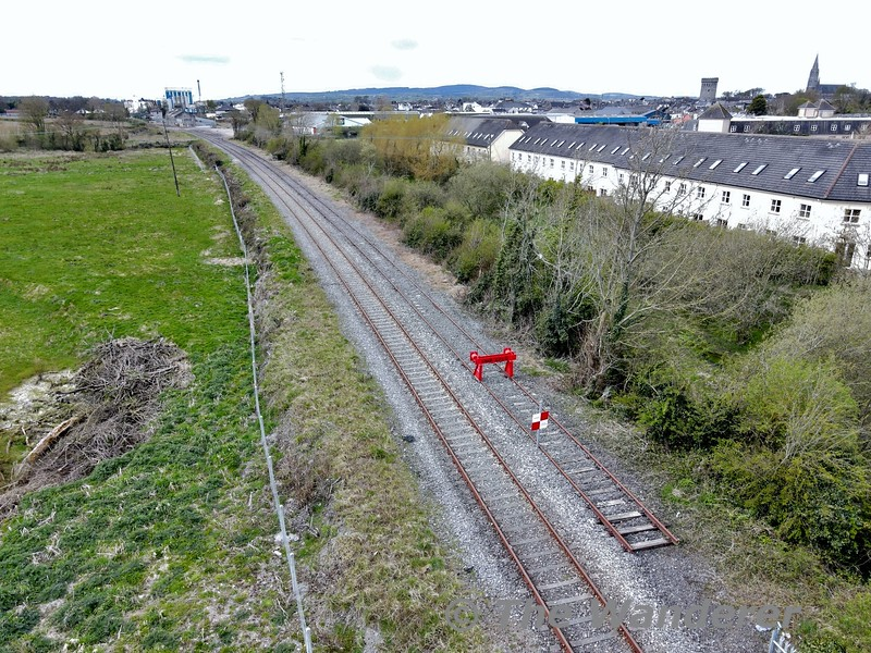 The view from the Roscrea end of Nenagh Station showing the end of the sidings. Thurs 08.04.21