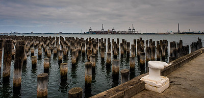 This and the next two photos were taken from the same location. This composition is from a standing position and gives a good idea of the many pylons once covered with the pier deck.