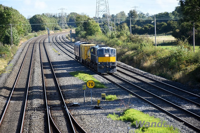 As mentioned in the August gallery, the RPSI GSV 3173 has been hired by IE to work with the Sperry Train on the current tour of the network. Here we see 081 approaching Hazelhatch on the Down Slow Line with the 1015 North Wall - Portlaoise Sperry Train. Sun 26.09.21
