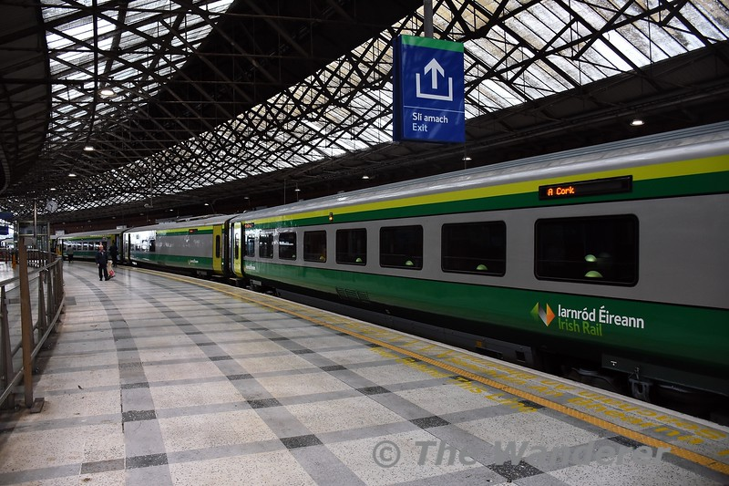 Cork Station just after the arrival of the 0800 from Heuston. First Open caoch 4204 is nearest the camera, Wed 22.09.21