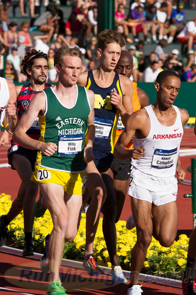 The University of Michigan's Mason Ferlic (center) during the 3000 Meter Steeplechase at the 2015 NCAA Division One Outdoor Track and Field Championships in Eugene, Oregon. RunMichigan photo by Michael Lahner.