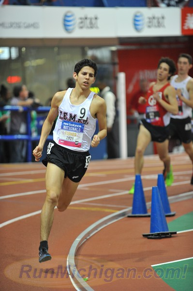 Grand Blanc, Michigan's Grant Fisher during the Boys' Championship Mile event at the 2015 New Balance Indoor Nationals at the Armory in New York City. Photo by Dave McCauley/RunMichigan.com.
