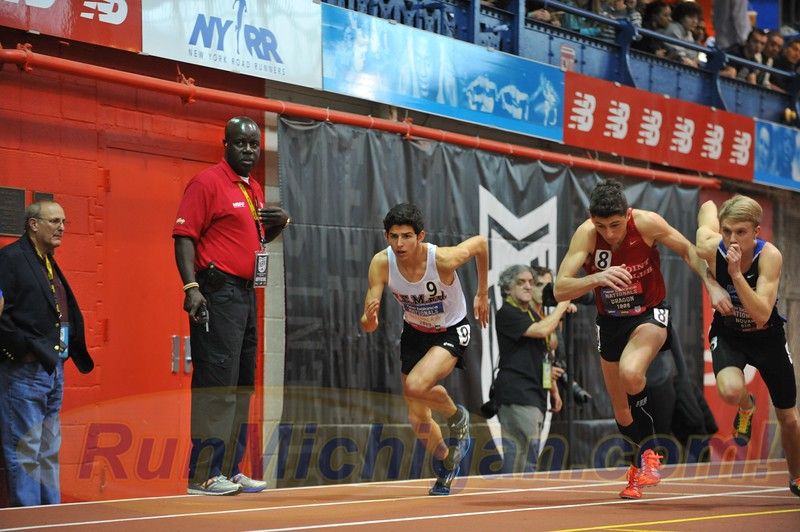 Grand Blanc, Michigan's Grant Fisher (left) starts the Boys' Championship Mile event at the 2015 New Balance Indoor Nationals at the Armory in New York City. Photo by Dave McCauley/RunMichigan.com.
