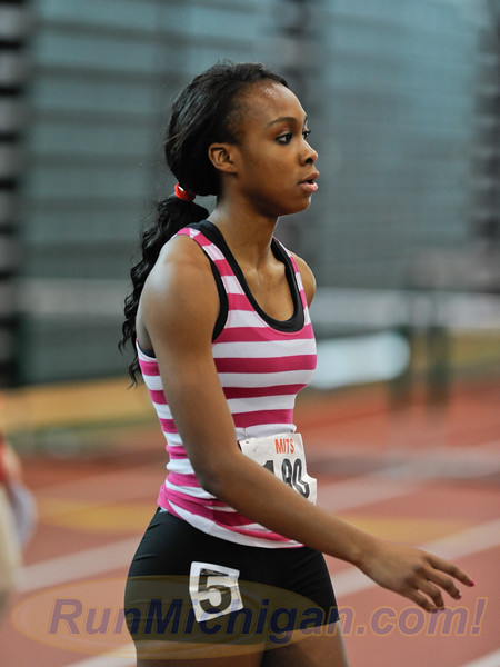 Cindy Ofili competes at the 2012 Michigan Indoor Track Series (MITS) State Meet, February, 2012. RunMichigan photo by Ike Lea.