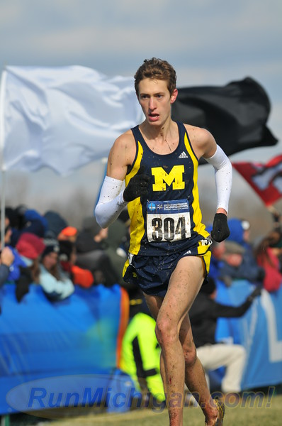 The University of Michigan's Mason Ferlic nears the finish line at the 2013 NCAA Division One Cross Country Nationals, held in Terre Haute, Indiana. Photo by Dave McCauley/RunMichigan.com.