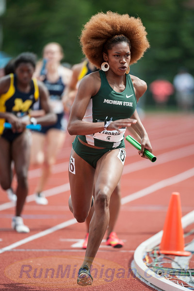 Michigan State University's Tori Franklin does her part in the relays. helping her team to the 2015 Women's Big Ten Outdoor Track and Field title.  RunMichigan photo by Ike Lea.