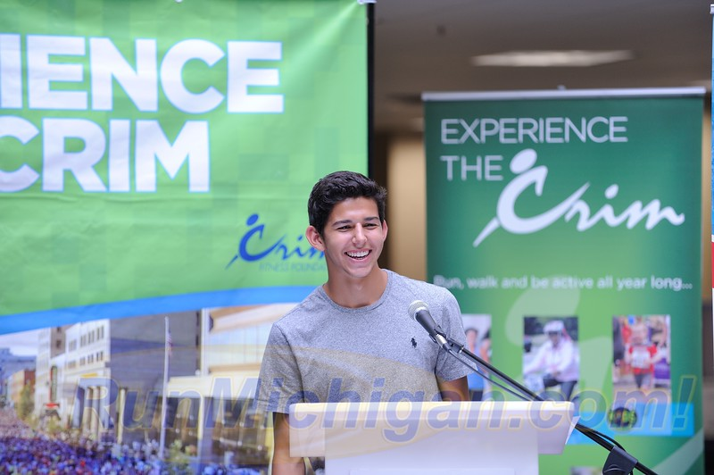 Grant Fisher speaks at the pre-race press event for the 2015 Crim Festival of Races in Flint, Michigan. Photo by Dave McCauley/RunMichigan.com.