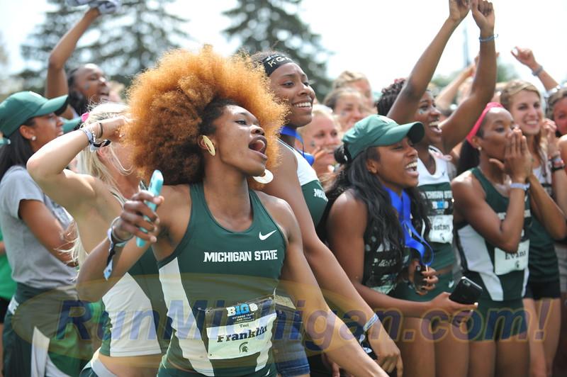 Michigan State University's Tori Franklin celebrates her team's winning of the 2015 Women's Big Ten Outdoor Track and Field title.  RunMichigan photo by Dave McCauley.