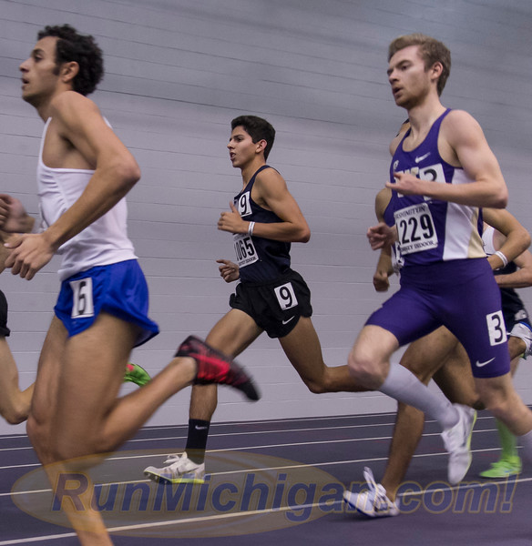 Grand Blanc, Michigan's Grant Fisher competing at the 2016 University of Washington Husky Classic Indoor Track and Field meet in February, 2016. RunMichigan photo by Michael Lahner.