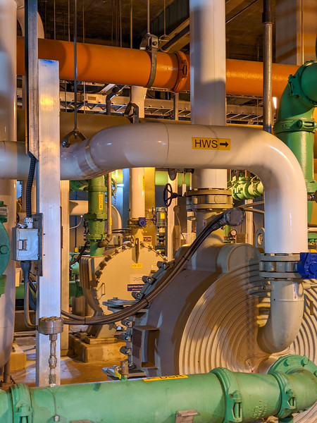 Pipes and sewage pumps at industrial wastewater treatment plant