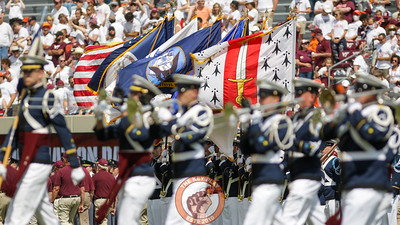 The Virginia Tech Corps of Cadets marches onto the field before the national anthem as part of pre-game festivities. (Mark Umansky/TheKeyPlay.com)