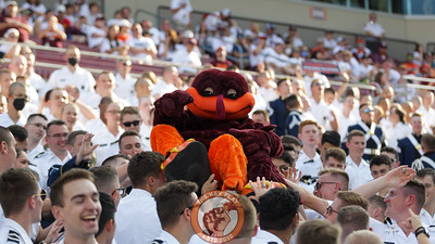 The Hokiebird is passed up the stands in the South Endzone by the Corps of Cadets. (Mark Umansky/TheKeyPlay.com)