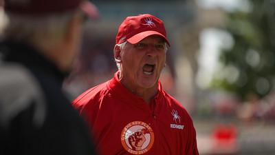 Richmond head coach Russ Huesburg yells at his punter on the sideline after a Hokies punt return touchdown. (Mark Umansky/TheKeyPlay.com)
