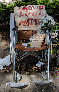 """7  Wheelchair, """"Brown Lives Matter,"""" at the shrine"""
