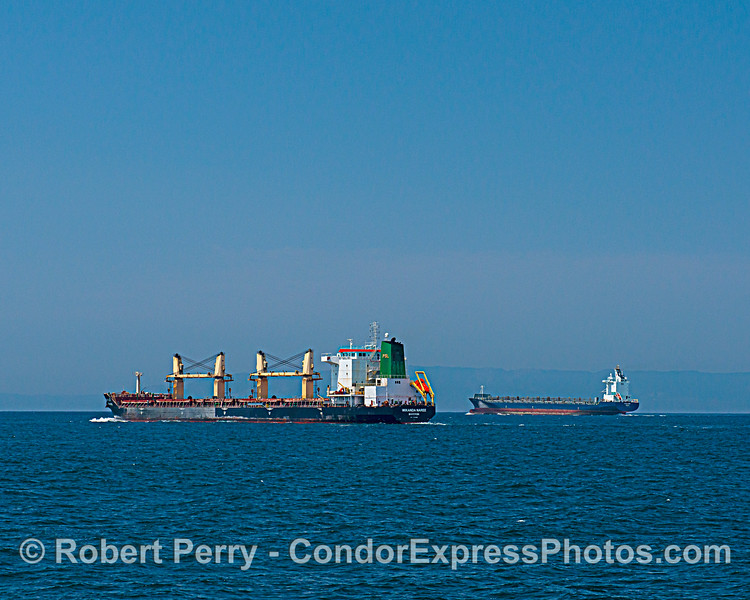 Bulk carriers in the Santa Barbara Channel. The Wikanda Naree in the foreground is passing the second ship.