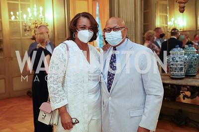 Marcia and Sec. Alphonso Jackson. Photo by Tony Powell. 2021 Embassy Social Secretaries & Cultural Attachés Reception. Meridian Intl Center. August 11, 2021