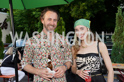 Jason Burnett, Emily Reynaud. Photo by Tony Powell. 2021 Transformer Collector's View Series Launch Party. Comet Ping Pong. June 8, 2021
