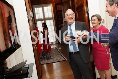 France Ambassador Philippe Étienne and Patricia Étienne, Stuart Holliday. Photo by Tony Powell. 2021 culturefix. Meridian International Center. June 9, 2021