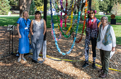 20  Those involved in planning the event- Katharina Bernau, of the Art Ventures Gallery, Lisa Solomon, artist, Sharat Lin, dancer, and Judy Adams, of the Peninsula-Palo Alto Women's International League for Peace and Freedom
