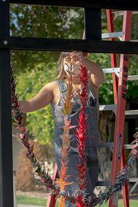 3  The artist, Lisa Solomon, begins to hang the peace cranes
