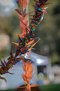 4  The cranes were made by Menlo Park residents from a 2020 art installation organized by the Peninsula-Palo Alto Women's International League for Peace and Freedom