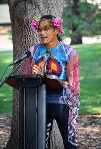 14  Sharat, wearing his original butterfly costume, explains the significance of his costume  Because Monarch butterflies engage in a long migration, he wishes to express solidarity with migrant peoples