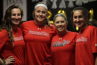 Women's soccer celebrates their seniors.