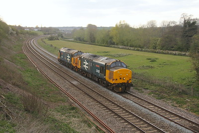 37407 Hungerford 21/04/21 0M37 Westbury Down T.C. to Willesden Brent DRS with 37402