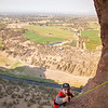 """Chandler on the """"Pioneer Route"""" (5.7 C0) on the Monkey Face Tower."""