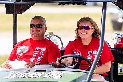 Lucas Oil Late Model Dirt Series officials Brad Fisher (L) and JorJana Fisher (R)