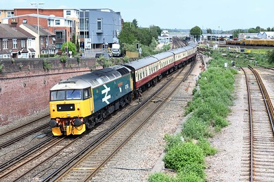 16 June 2021 ::  47593 (previously 47790) is seen at Eastleigh on the rear of 1Z44 from Wolverhampton to Portsmouth Harbour.  The 47 will lead the train from Eastleigh to Portsmouth Harbour
