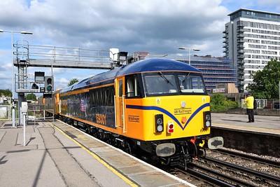 14 June 2021 :: Seen at Basingstoke is 69001 being taken by 73212 + 73213 as 0Y69 from Eastleigh to Tonbridge